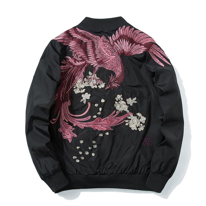 Dropshipping Wholesalers Supplier 2018 Spring High Street New Phoenix Embroidery Jacket Men