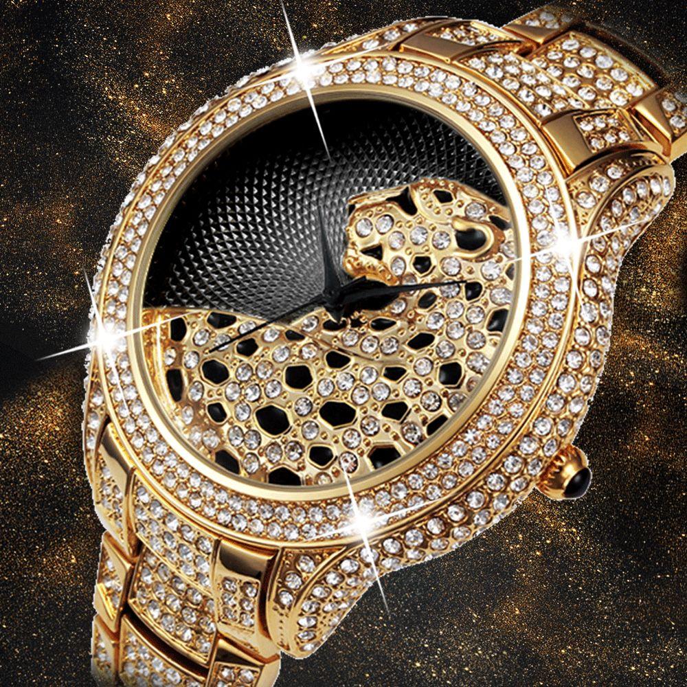 Miss Fox Role Luxury Watch Men Diamond Gold Mens Watches Top Brand Luxury C Black Simple Tiger Xfcs Business Men's Quartz Watch