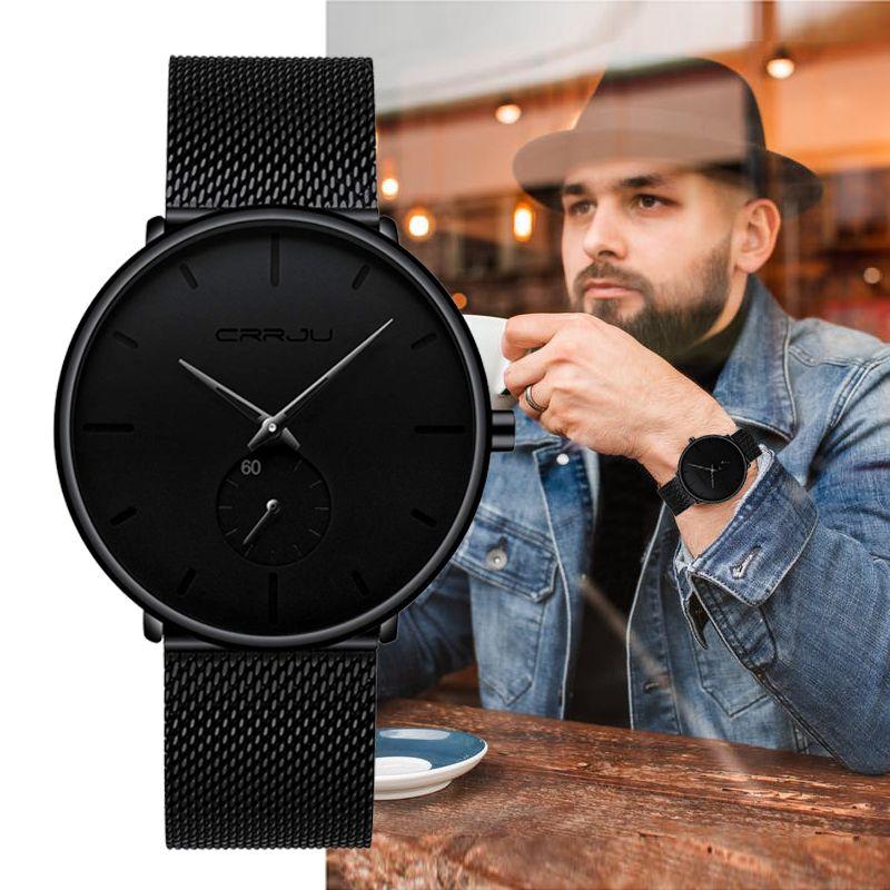 Top Brand CRRJU Luxury Men Watch Classic Black Mesh Men Wrist Watch Fashion Design Ultra-thin Sport Watch Relogio Masculino