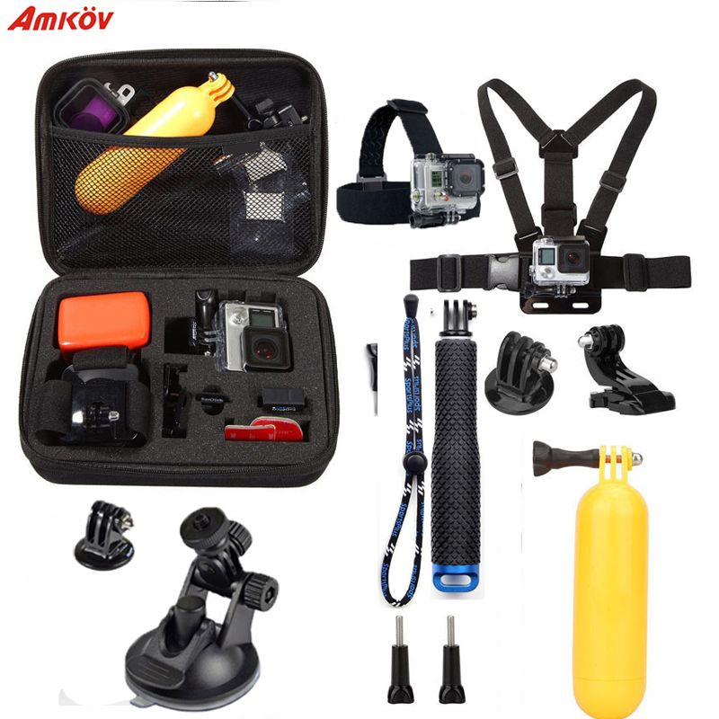 Action Camera Accessories Set 10 In 1 Kit Aluminum Extendable Pole Stick Chest Head Strap Car Holder for Go Pro Hero Xiaoyi