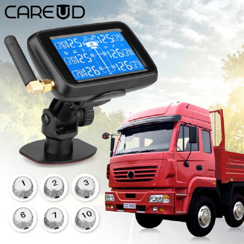 CAREUD U901 Auto Truck TPMS Car Wireless Tire Pressure Monitoring System with 6 External Sensors Replaceable Battery LCD Display