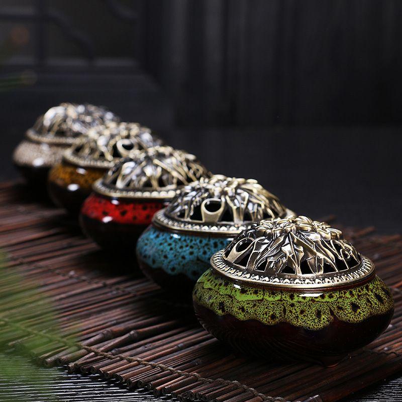 Céladon céramique Bouddha encens base alliage de cuivre antique brûleur d'encens encens de bois de santal encens petit