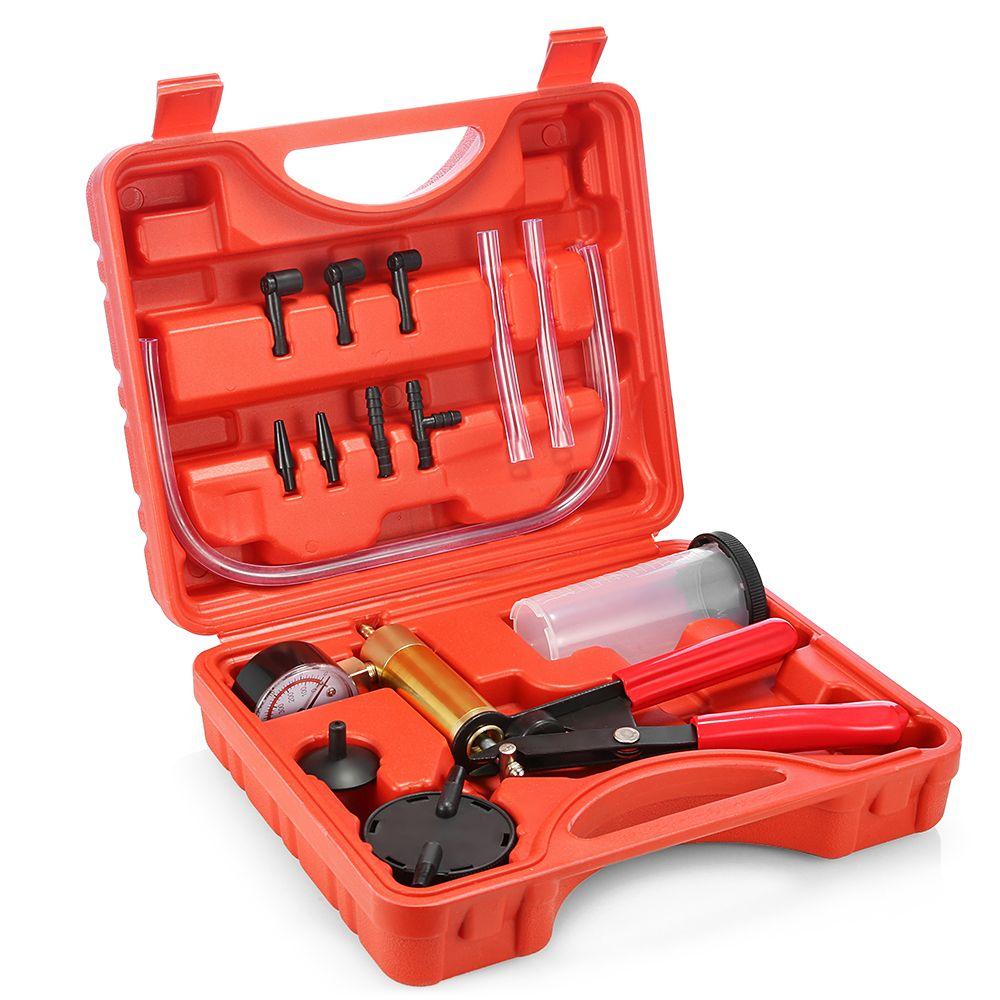 Hand Held DIY <font><b>Brake</b></font> Fluid Bleeder Tools Vacuum Pistol Pump Tester Kit Aluminum Pump Body Pressure Vacuum Gauge