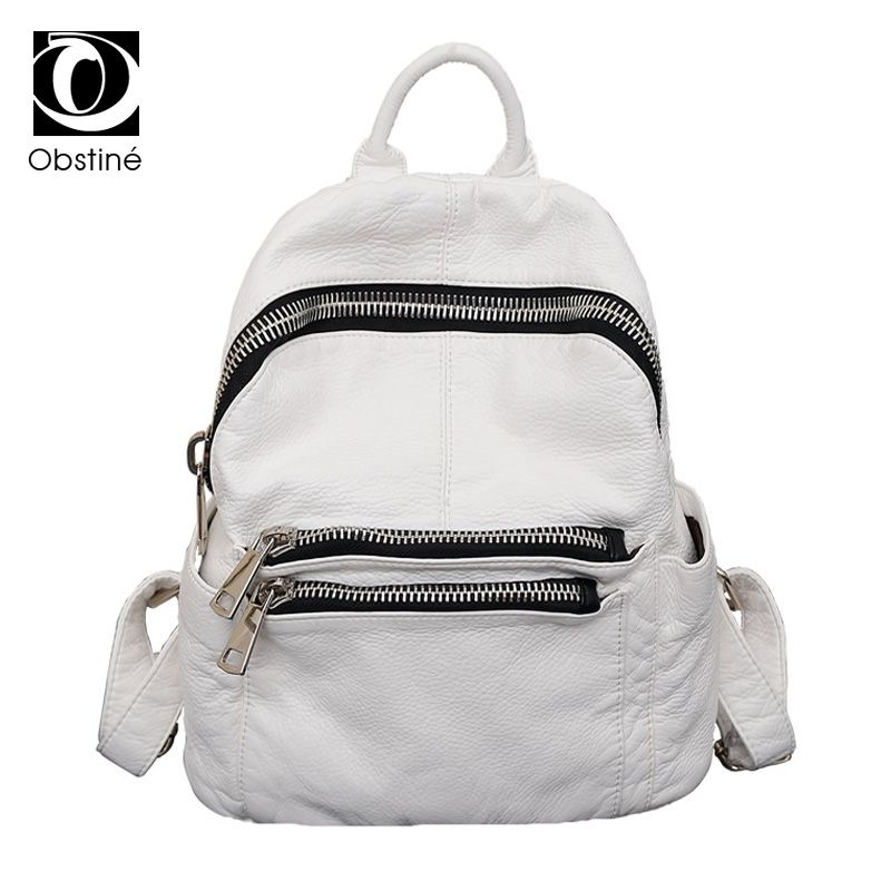 Woman White Back Pack Women's Washed Leather Backpack Female Bagpack Women Backpacks for Women with Zipper Girls Bags Designer