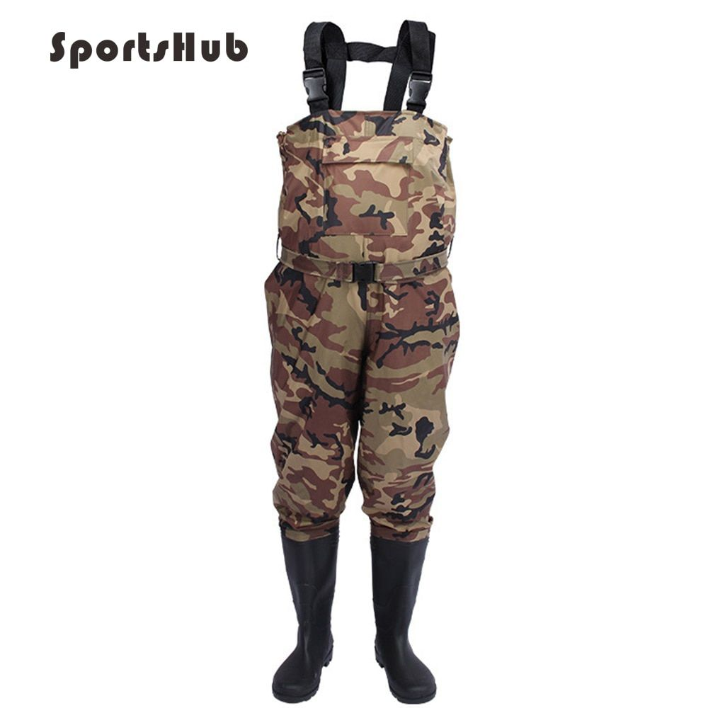 SPORTSHUB Camouflage Waterproof Fishing Boots Pants Breathable Fishing Waders Wading Farming Overalls Cleaning Clothes FT0081
