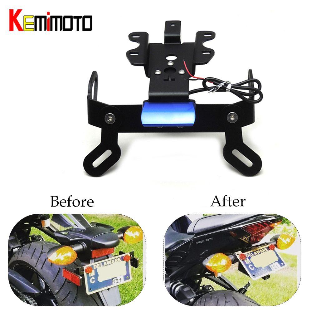 KEMiMOTO Fender Eliminator Registration Plate Bracket License Plate Holder LED Light For YAMAHA MT 07 MT07 MT-07 FZ-07 2014-2018