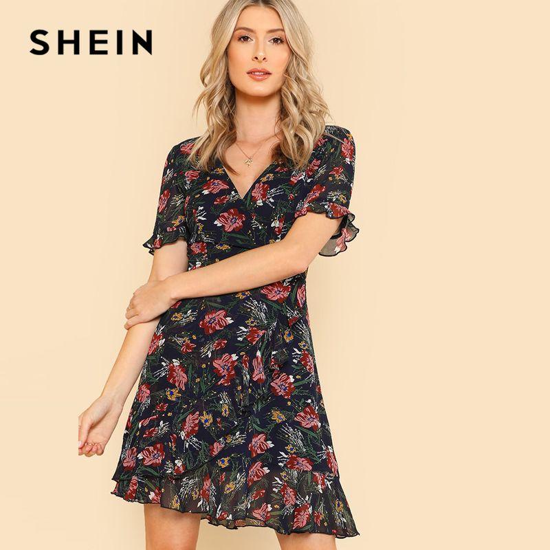 SHEIN 2018 Summer Chiffon Ruffle Hem Sexy Party Dress Multicolor Flounce Sleeve V Neck Dress Flower Print Surplice Wrap Dress