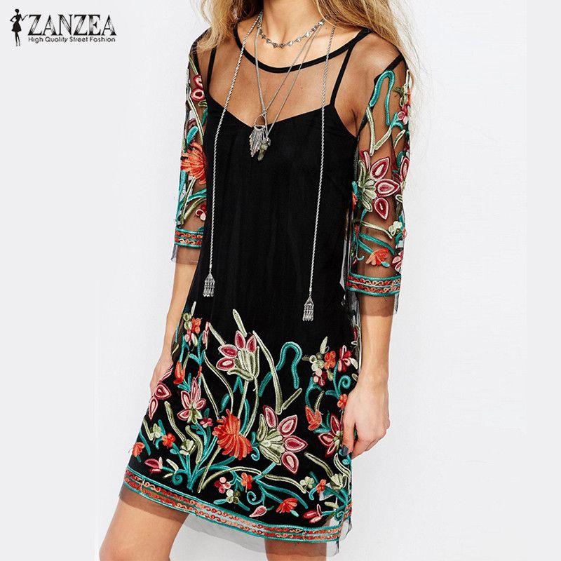ZANZEA Для женщин Мода Винтаж мини-платье 2018 летние цветочные Вышивка Кружево сетки Лоскутные платья Повседневное Vestidos плюс Размеры