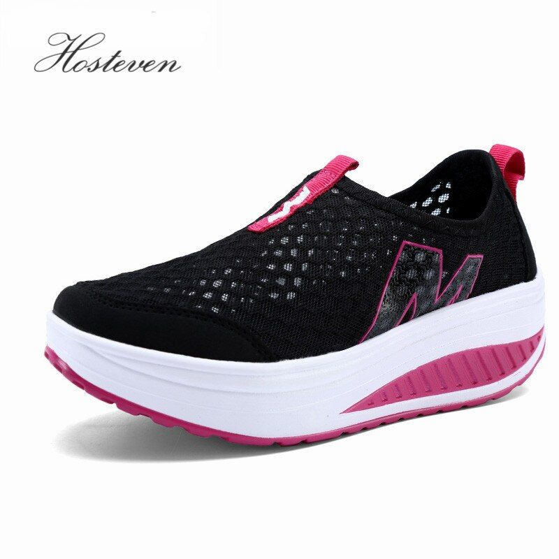 Nouvelles chaussures pour femmes décontracté Sport mode chaussures marche appartements hauteur augmentant femmes mocassins respirant Air maille balançoire chaussures