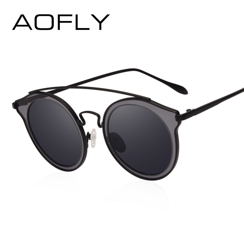 AOFLY BRAND DESIGN Mujeres Polarizadas Gafas de Sol Redondas Gafas de Sol Retro Vintage Espejo Círculo Gafas De Lentes gafas de sol AF2542
