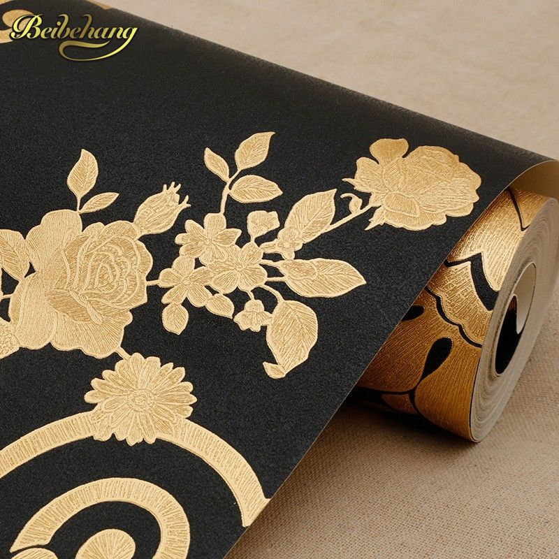 Beibehang Luxus schwarz Glitter Tapete Fernsehhintergrundwand papier Goldfolie Tapete Decke Wandbekleidung Papel De Parede 3D