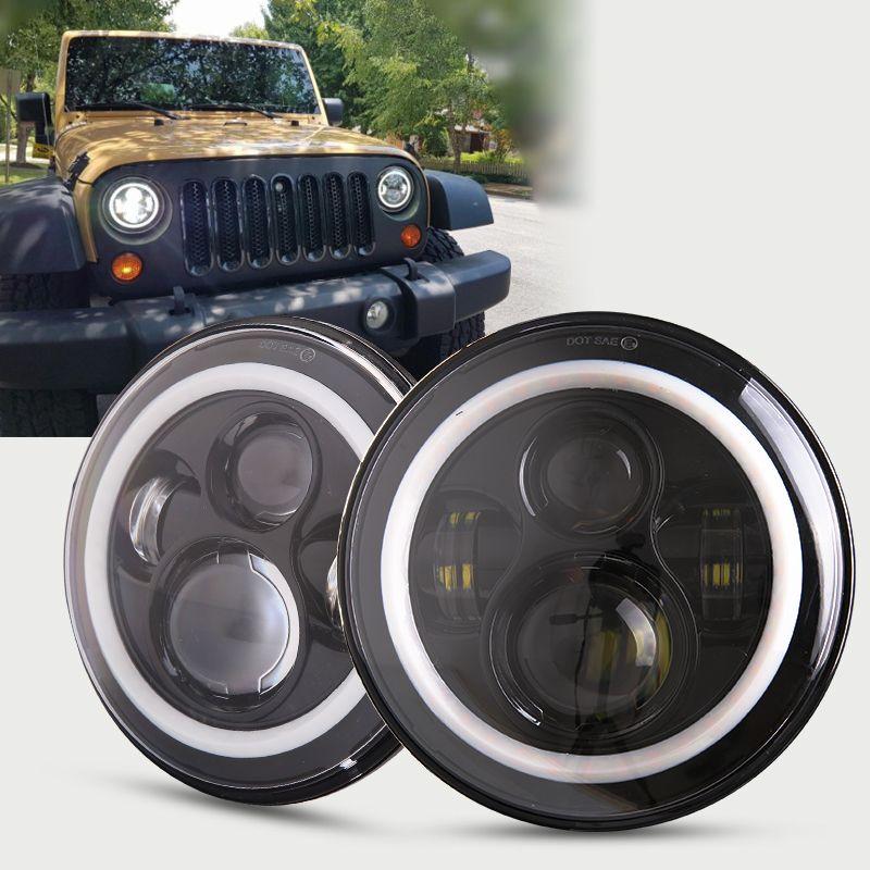For Jeep Wrangler JK CJ LED Car Halo Ring Round car Light Souce 2PCS H4 7 Inch 45W Angel Eyes Auto Headlight Kit DC10-30V Hi/Low