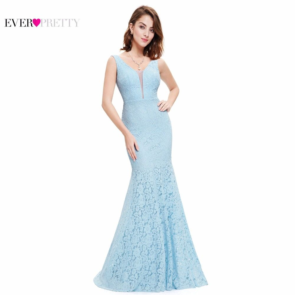 Lace Mermaid Prom Dresses Long 2017 Ever Pretty EP08838 Fashion Small Train Sexy Trumpet V-Neck Elegant Prom Dresses