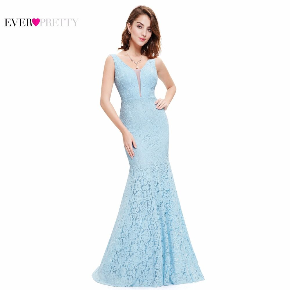 Lace Mermaid Prom Dresses Long 2018 Ever Pretty EP08838 Fashion Small Train Sexy Trumpet V-Neck Elegant Prom Dresses Party Gowns