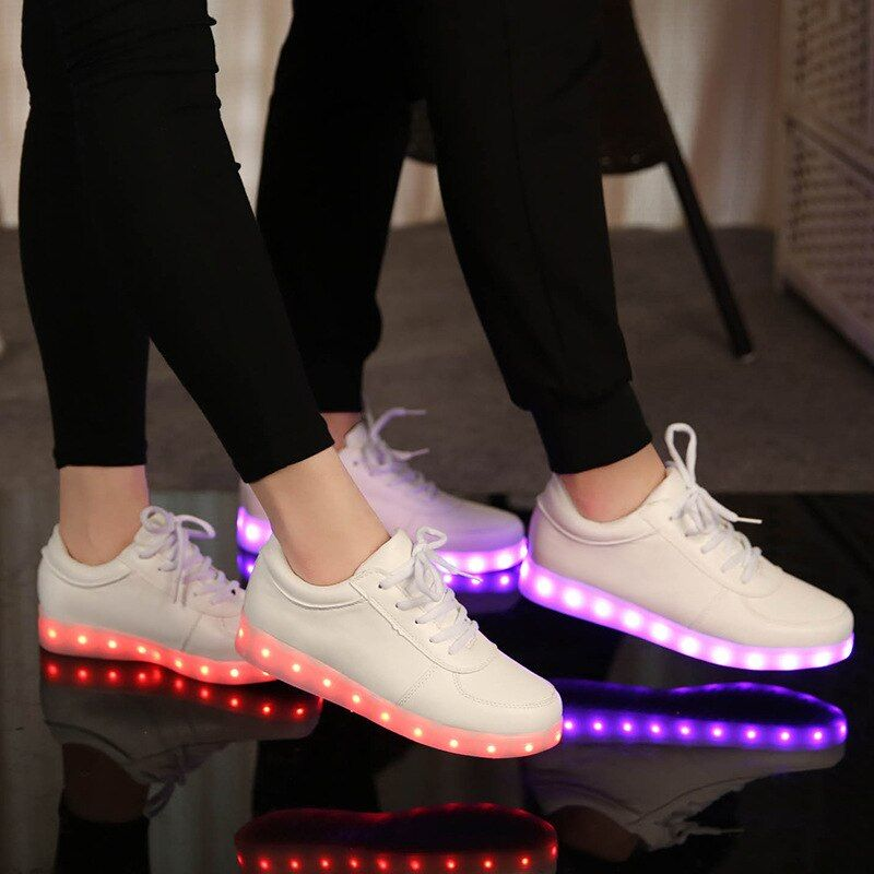 KRIATIV 7 couleur LED LUMINEUX SNEAKERS Usb de charge enfants Light up chaussures baskets lumineuses mode rougeoyant chaussures led infantile