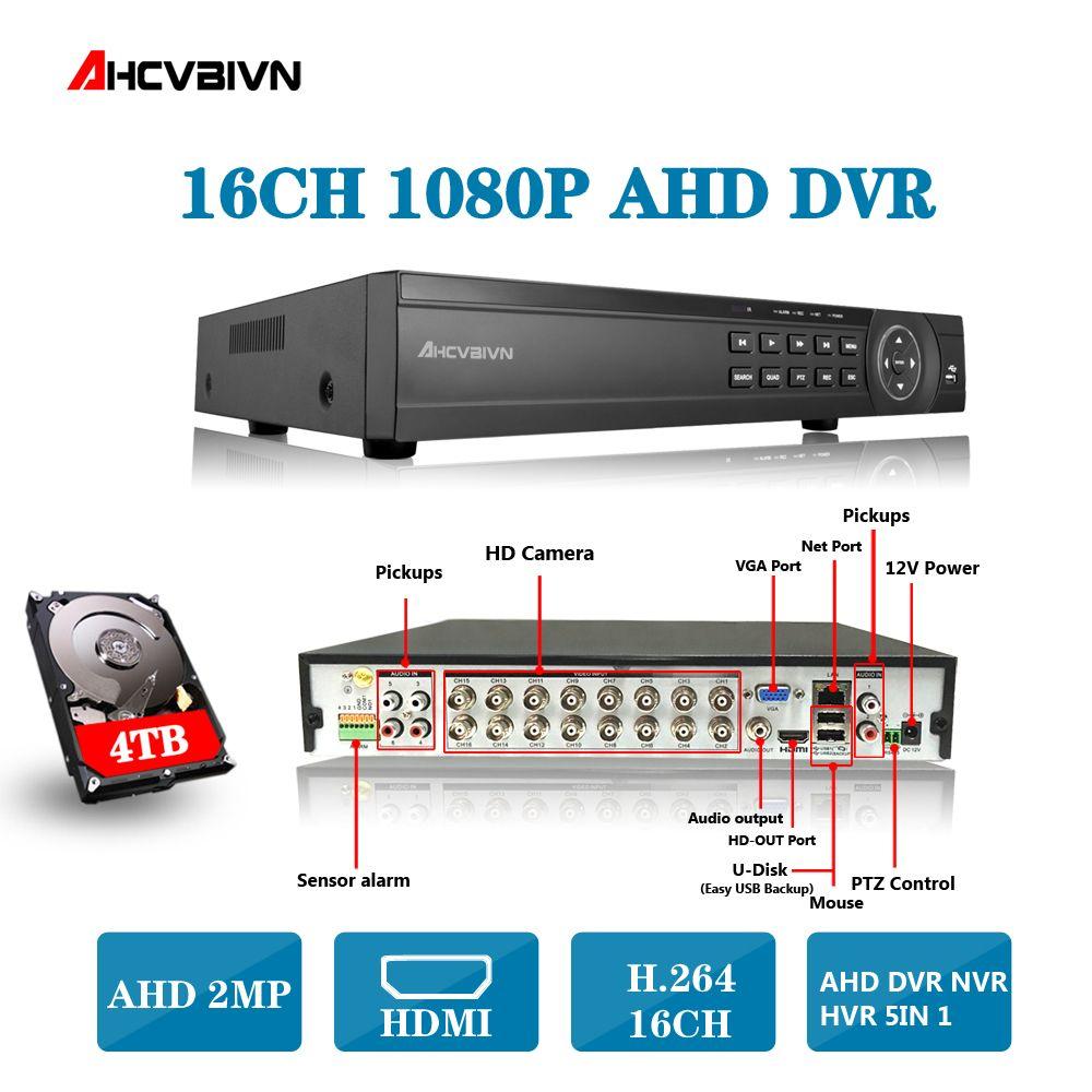 AHD DVR 16ch 1080 p hause überwachung 16 kanal 1080N sicherheit CCTV DVR video recorder HDMI 1080 p 16 kanal AHD DVR NVR 2 tb