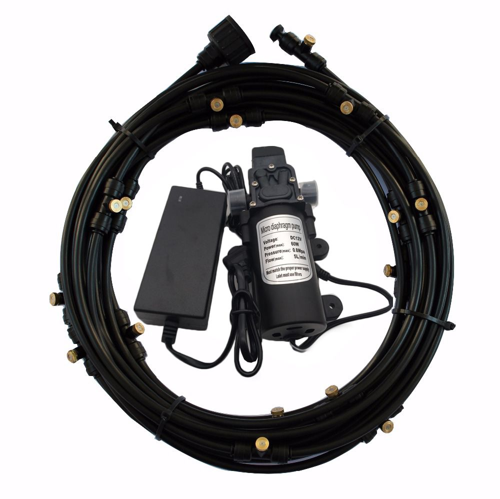 C186 Schläuche 40ft länge mit 16 stücke feine nebel nebel düsen, filter und 12 v DC wasserpumpe für garten beschlagen bewässerung system
