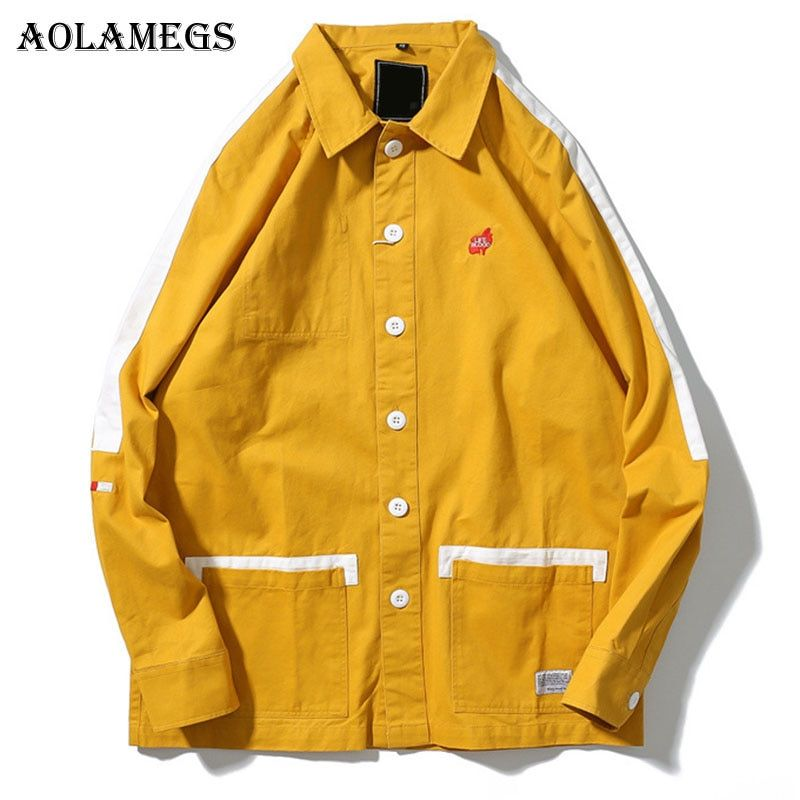 Aolamegs Bomber Jacket Patchwork Men's Jacket Turn-down Collar Fashion Outwear Autumn Men Coat Bomb Couple Baseball Jackets
