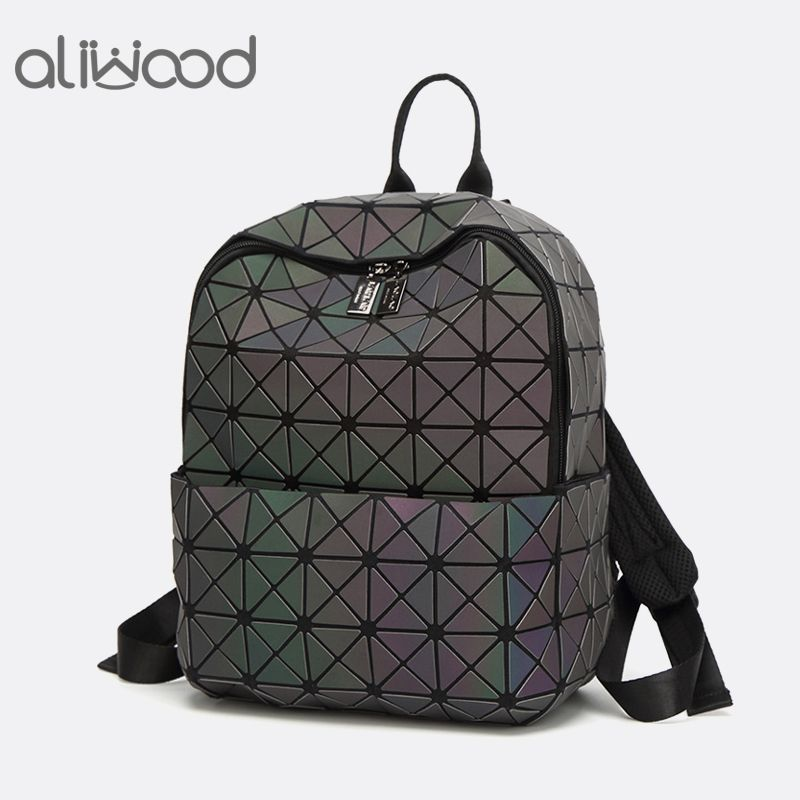 Aliwood Women's Backpack Hologram Geometric Small Backpacks With Sequins Female Leather School Backpack for Girls Bao Mochila