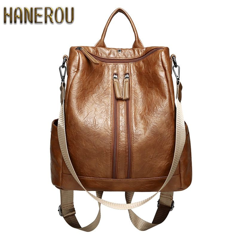 2018 Fashion PU Leather Backpacks High Quality Mochila Escolar School Bags For Teenagers Girls Top-handle Anti Theft Backpack