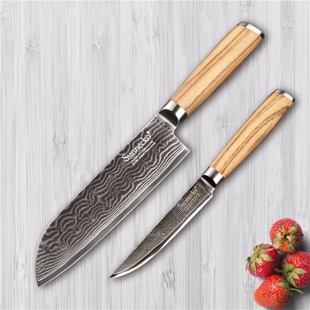 Sunnecko 2 STÜCKE Küchenmesser Set Japanischen VG10 Damaststahl 7 Santoku 5 Gebrauchsmesser Slicing Schneider Original Holzgriff
