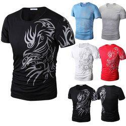 Mode D'été Hommes T-Shirt À Manches Courtes O Cou Style Chinois Impression Tops Confortable Homme Casual T-Shirts-MX8