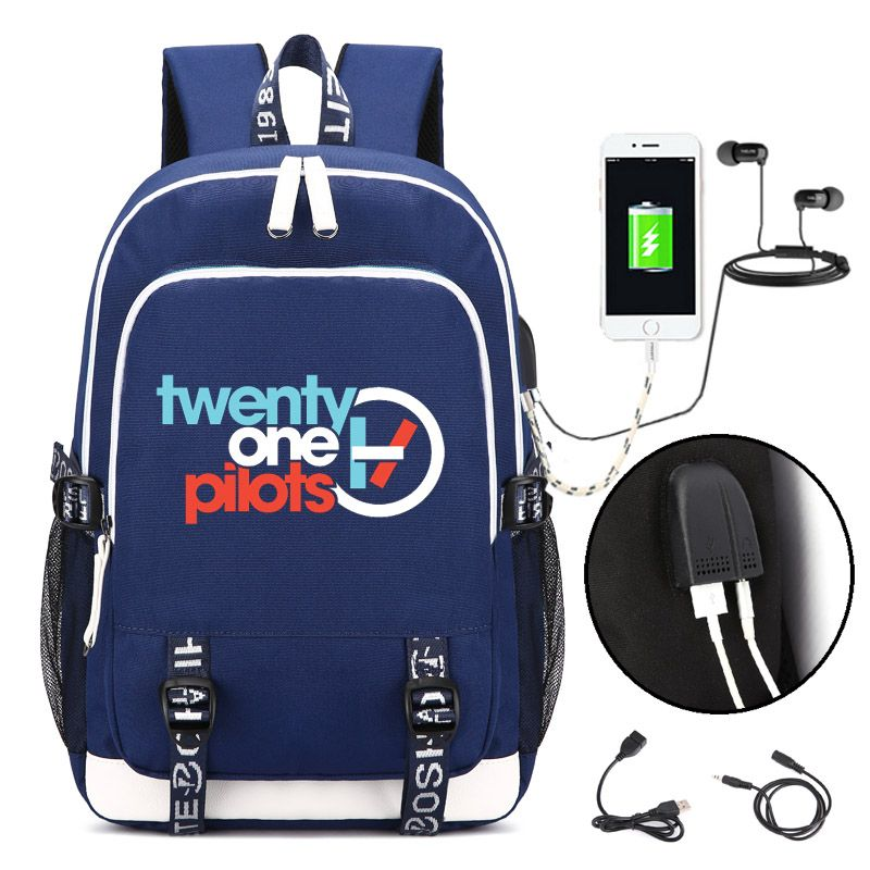 Twenty One Pilots Backpack with USB Charging Port and Lock &Headphone interface for College Student Work Men & Women