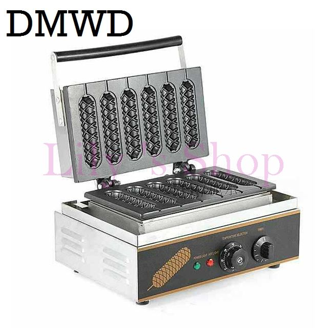 DMWD Commercial Electric 6 pieces Crispy corn hot dog waffle maker non-stick French Muffin sausage Machine EU US plug 110V 220V