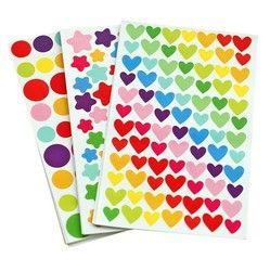 6 feuilles/set Coloré Joint Mignon Amour Coeur Dot Étoile à Cinq branches Décoration Scrapbooking Papier Autocollants Papeterie Post il