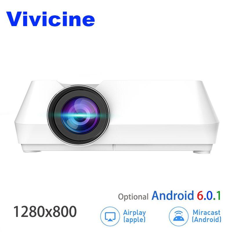 Vivicine Mini LED Projektor, Tragbare Multimedia Video Projektor für Film Spiele Optional 1280x800 Android WIFI Bluetoot Beamer