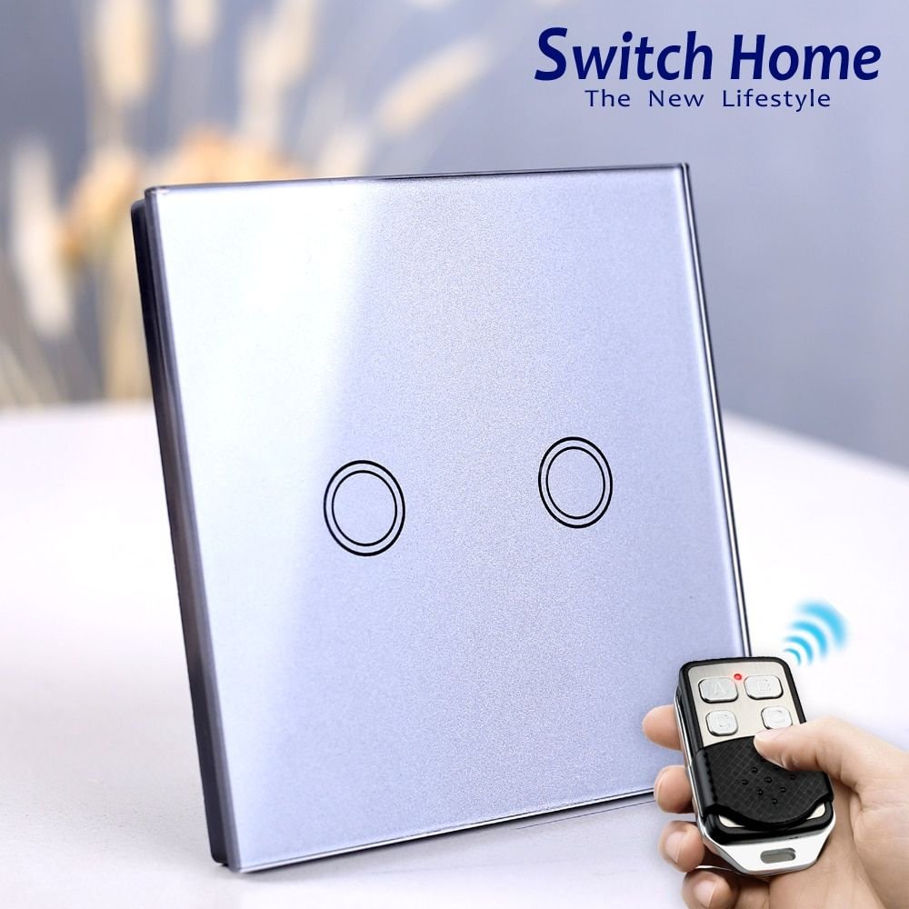 EU/UK Standard Touch Switch, Wall Light Touch Screen Switch, wireless Remote control Wall touch switch , 2 gang gray AC130~250V