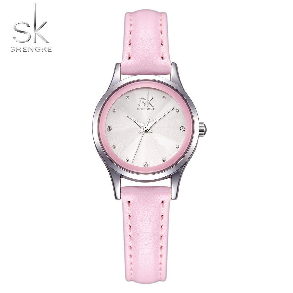 Sk/Новая мода женские Часы розовый кожаный девушка Наручные часы Элегантный Алмаз кварцевые часы Удобная пряжка круглый корпус час