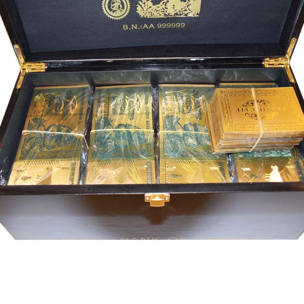 1000 stücke Simbabwe Gold-Banknote mit Simbabwe Holz Box Hause Dekorative Hundert Trillion Dollar 24 karat Gold Überzogene Geld geschenke