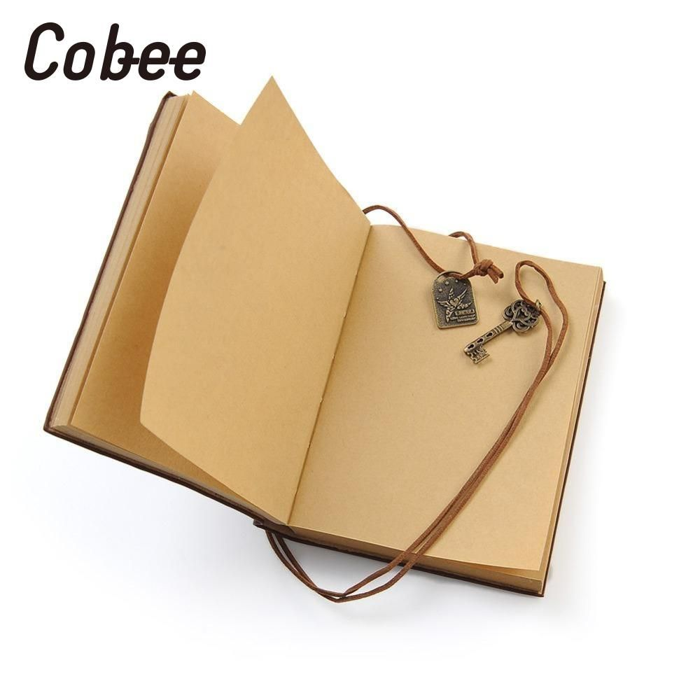 Cobee Retro Vintage Style Diary Memo Sketchbook Leather Classic String Key Notebook journal Diary Home School Supplies Kawaii