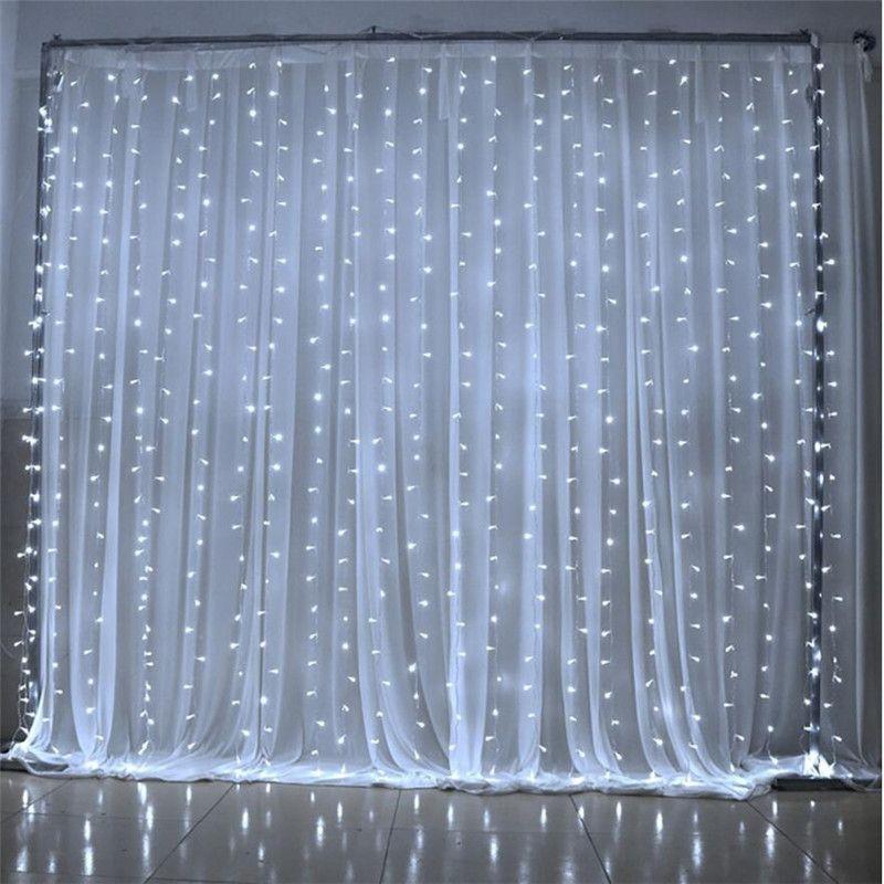 6M x 3M 600 LED maison en plein air vacances noël décoratif mariage chaîne de noël fée rideau guirlandes bande fête lumières