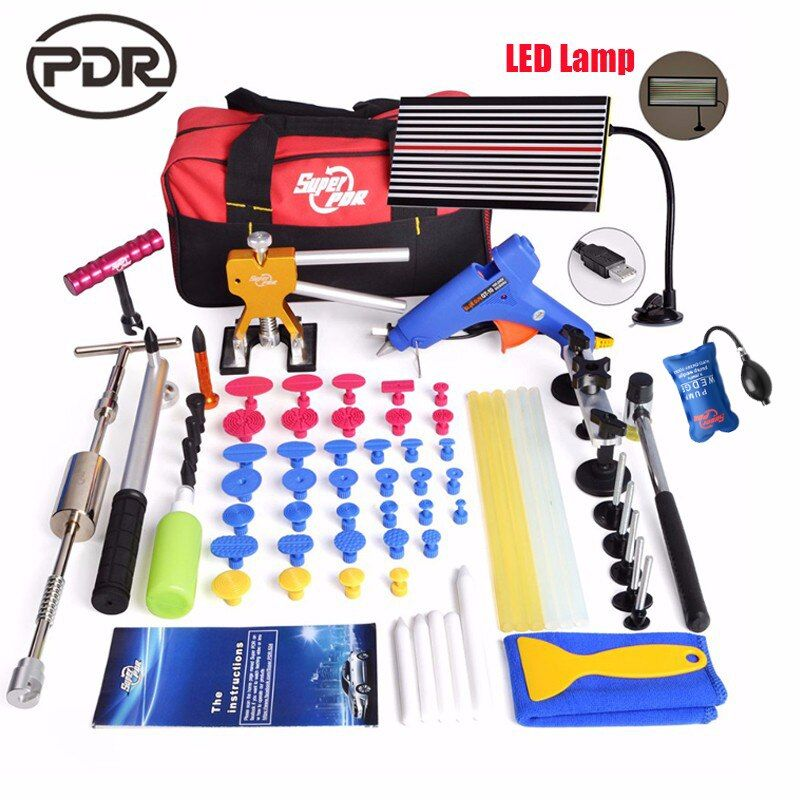 Super PDR Kit Tools Car Dent Repair Tool Hot Melt Glue GunLED Lamp Reflector Board Pulling Bridge Rubber Hammer Dent Removal