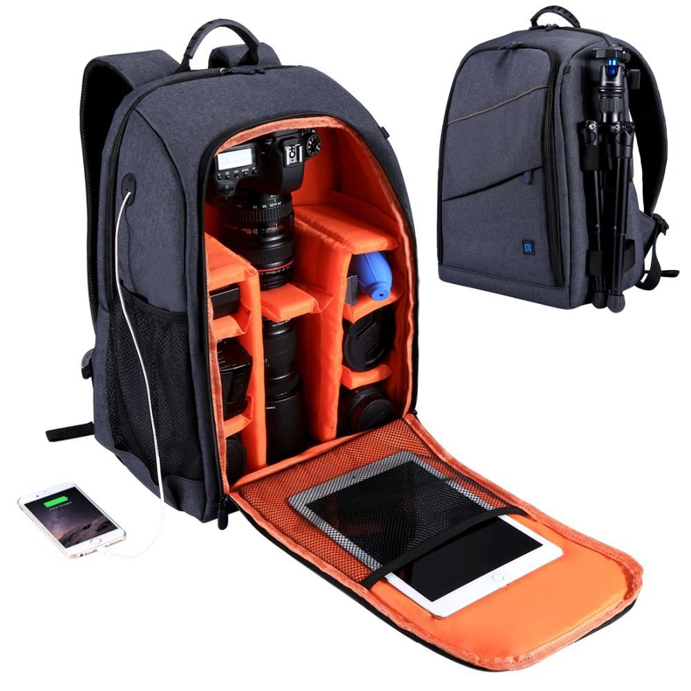 PULUZ Multi-functional Waterproof Scratch-proof Dual Shoulder Digital DSLR Camera Photo Video Bag w/Rain Cover SLR Camera Bag