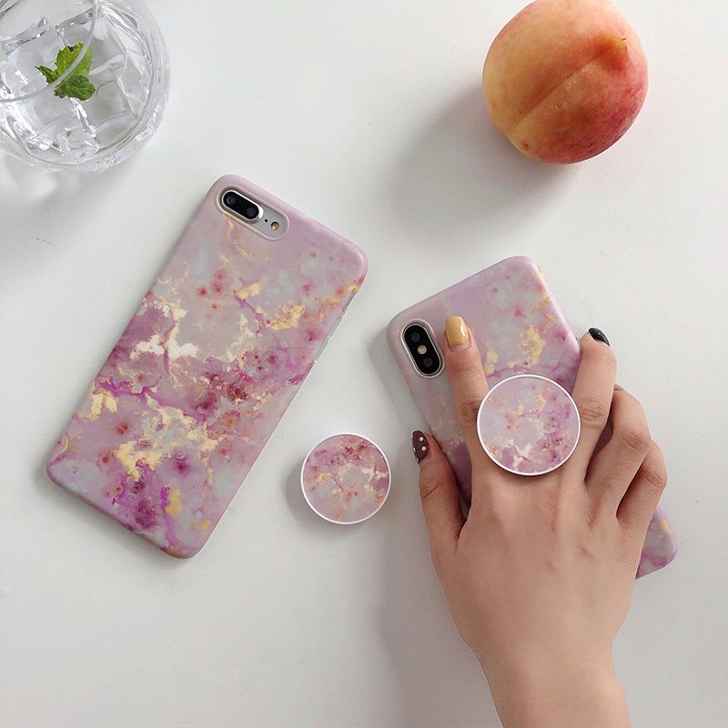 Ring air bag Stand holder Pink gold granite marble case for iphone X XR XS XS Max 6 6s 7 8 7plus Expanding Stand Grip case