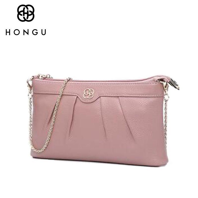 HONGU Famous Brands design Cowhide Genuine Leather Messenger Bag For Women Handbags Shoulder Bag Multicolour Chain Crossbody Bag