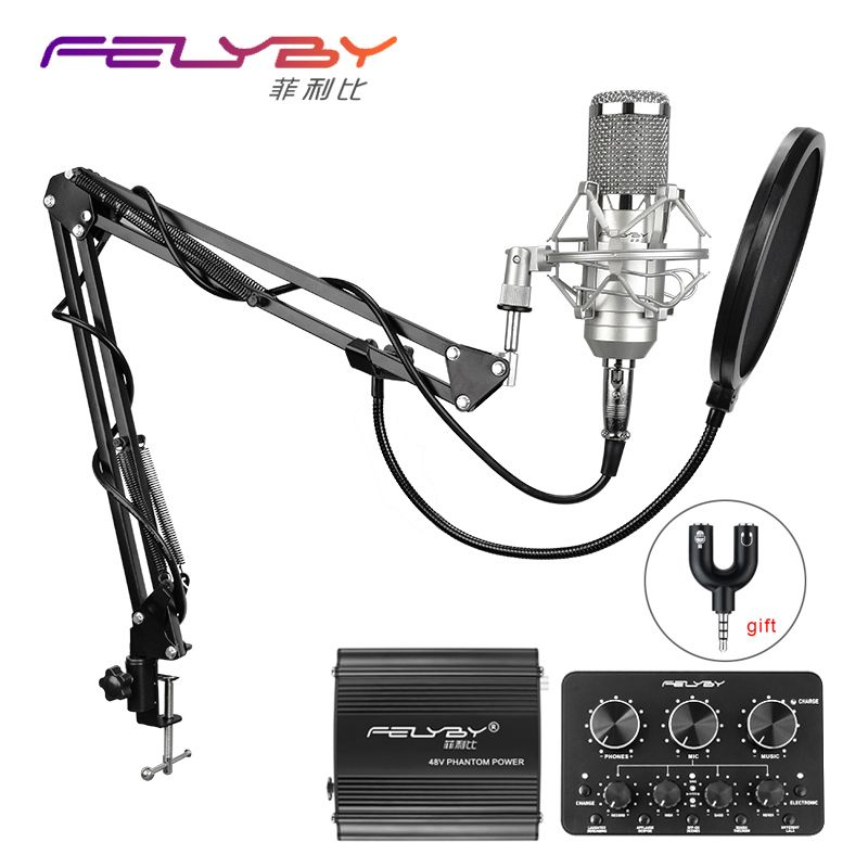 FELYBY bm 800 Professional condenser microphone for computer audio studio vocal Rrecording karaoke Mic Phantom power Sound card