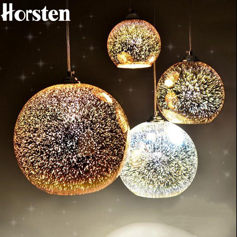 Horsten nouveauté verre boule pendentif lumières moderne suspendu Luminaire boule de noël Design lampe 3D coloré pendentif éclairage