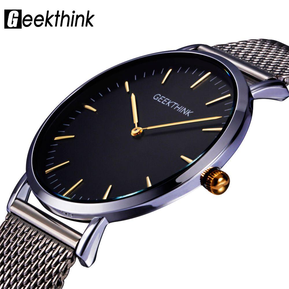 Geekthink Топ Элитный бренд кварцевые часы мужчины Повседневное Япония кварц-часы из нержавеющей стали с сетчатым ремешком ультра-тонкий часы м...