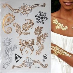 Hot Flash metálico impermeable tatuaje oro plata tatuaje mujeres Henna flor tatuaje etiqueta