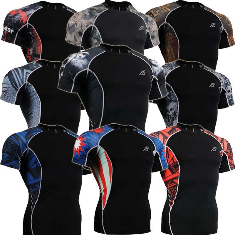 Men Short Sleeves Compression Shirt Print MMA Exercise Shirts Bodybuilding Crossfit Fitness Cloth Tops T-shirts
