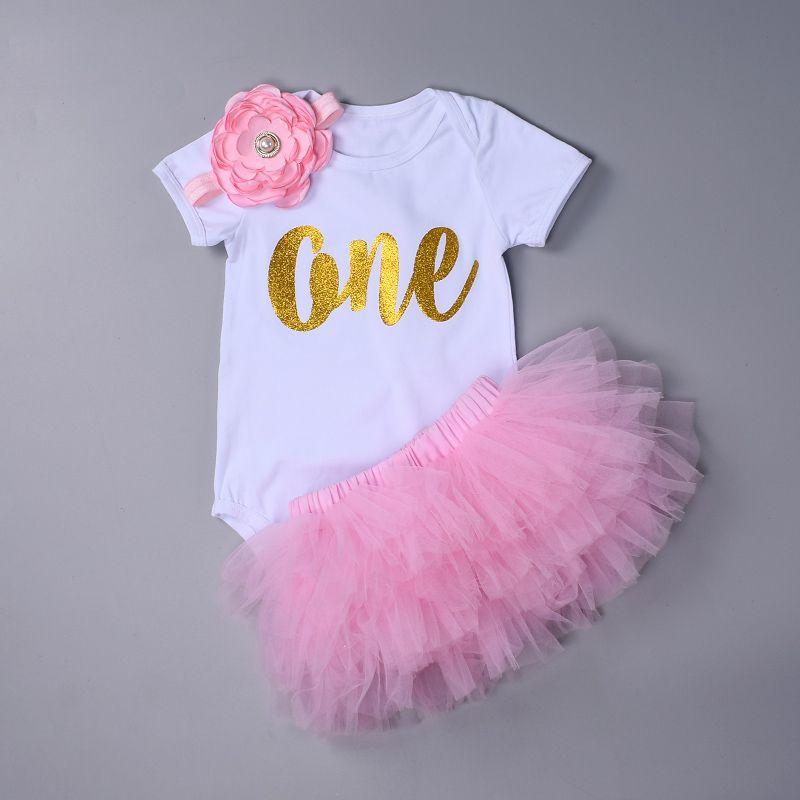 Mode Bébé Fille vêtements Set Body jumsuit ensemble Coton Barboteuse + 6 couche tutu jupe Bandeaux Infantile 1st D'anniversaire Vêtements costume