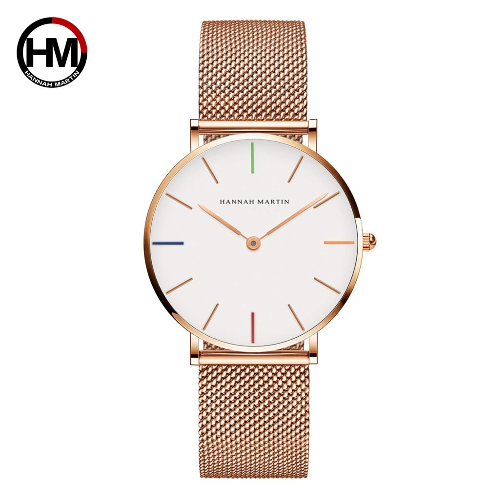 Japan Quartz Movement Rose Gold Watch 36mm <font><b>Waterproof</b></font> hannah Martin Women Watches Ladies Stainless Steel Mesh clock Dropshipping