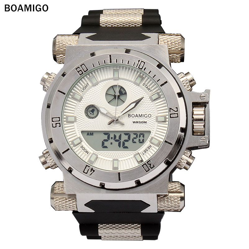 BOAMIGO  brand Men military sports watches large face Dual Time Quartz Digital Watch rubber band wristwatches relogio masculino