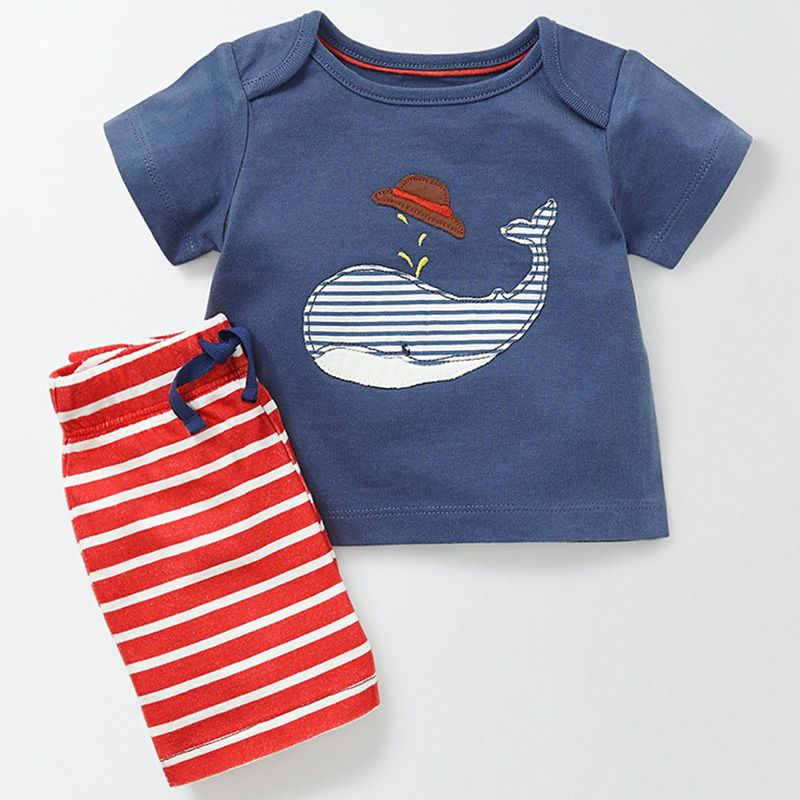 Bear Leader Baby Clothing Sets Kids Clothes 2018 New Brand Summer Boys Clothing Pattern Clothes+Striped Pants 2ps For Baby Boys