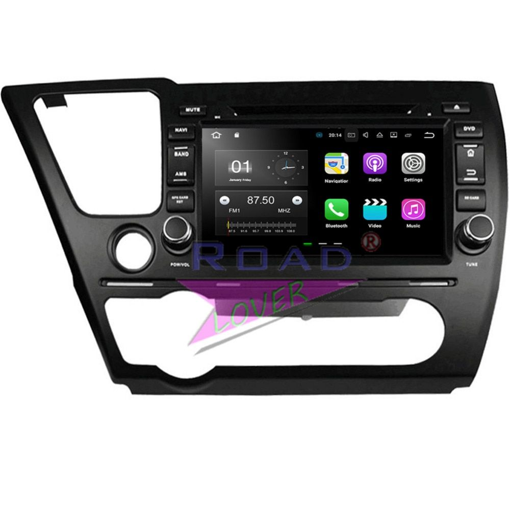 Roadlover Android 8.0 Octa Core 4G+32GB Car Media Center DVD Player For Honda Civic 2014 Stereo GPS Navigation Video Two Din MP3