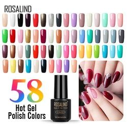 ROSALIND Gel Polish Nail Art Hybrid Varnish Semi Permanent UV Colors Lacquer Gel Lak Manicure Set Primer Poly Nail Gel Top Coat